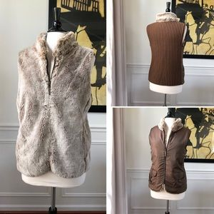Faux Fur Reversible Full Zip Vest Sweater Back XL